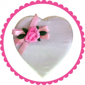 1 Pound Premium Pink Satin Rosebud Heart Shaped Assorted Chocolate Box