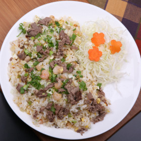 Fried Rice(Combination of beef, shrimp, egg, and vegetables)
