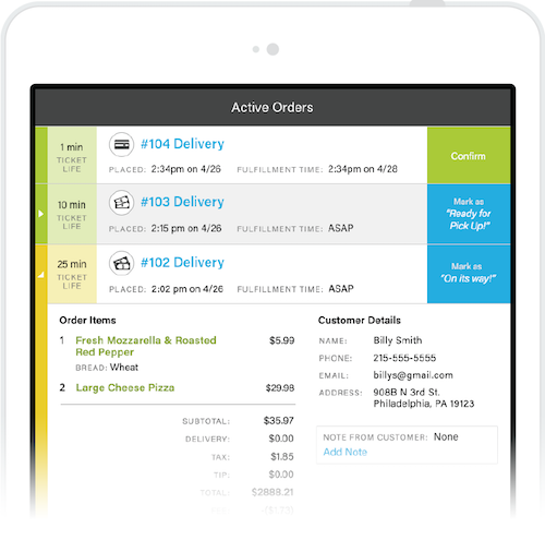 iPad running Ontray app for processing orders