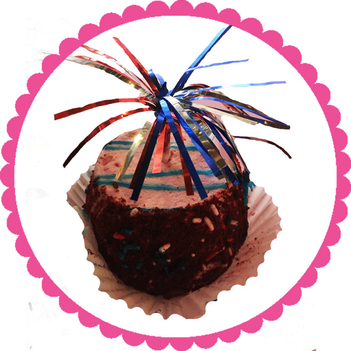 Red, White, Blue Fruity Individual Cake