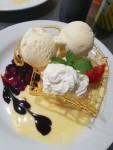 Hand Made Cruchy Toffee w Supreme Macadamia Ice Cream, Custard, Marinated Berries, Cream and Ice Cream