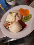 In House Free Range Egg Pavlova, Fresh Fruit, Berries, Cream & Ice Cream (GF)