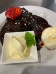 Steam Baked Chocolate Pudding w Real Melted Chocolate Sauce, Cream & Ice Cream
