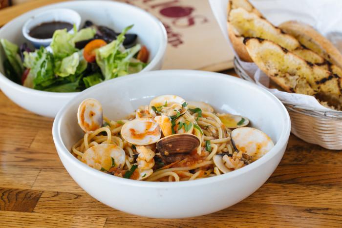 Fettucine with Clams & Shrimp